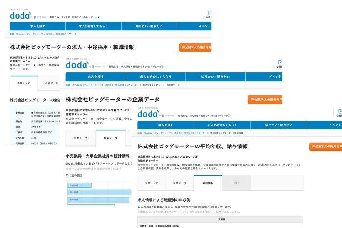 dodaに掲載しているビッグモーターの情報