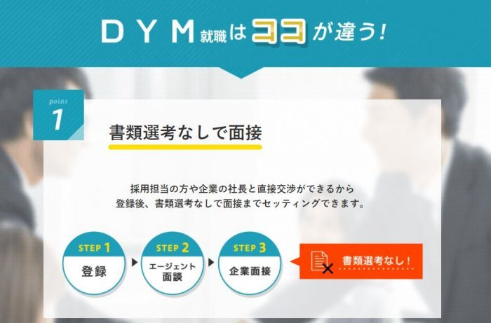 書類選考無しで面接にすすめる「DYM就職」