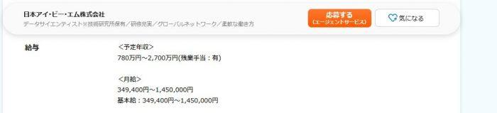 日本IBMで働くデータサイエンティストの年収