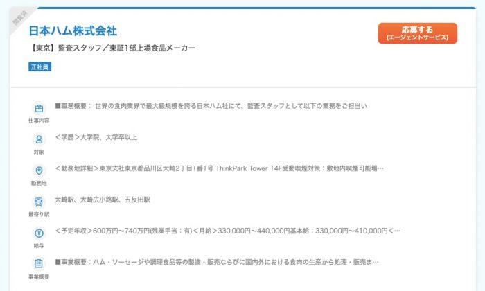 食品メーカーの求人(日本ハム株式会社)