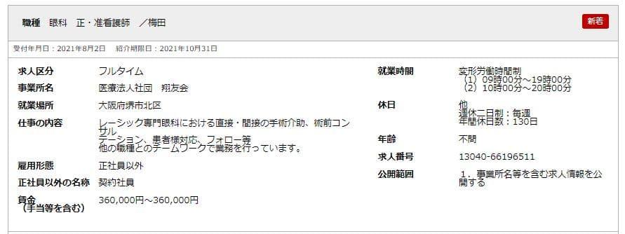 【大阪市】ハローワークのフルタイム求人